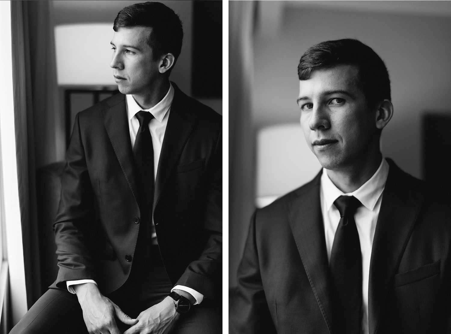 13-portrait-of-groom-by-window-at-hotel-getting-ready-in-london-ontario-wedding-inspiration.jpg