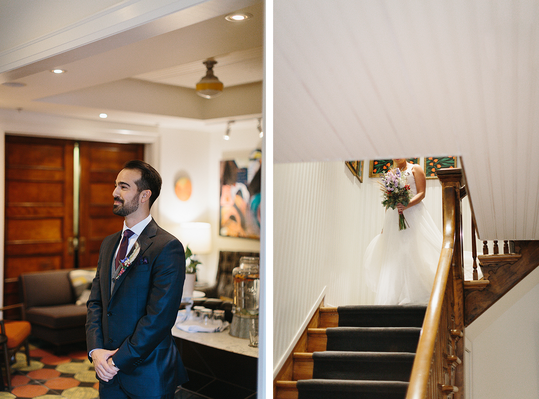 Bride-walking-up-to-groom-from-far-away-for-first-look-At-Eganridge-Resort-Venue-Muskoka-Ontario.jpg