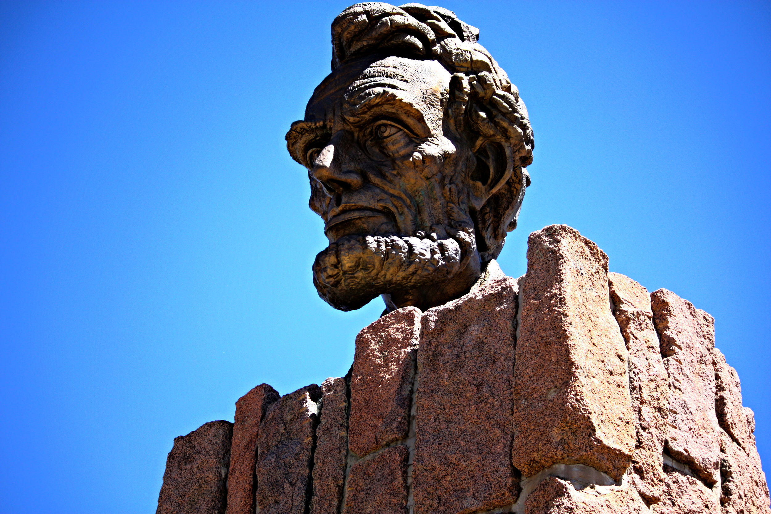 Abraham Lincoln keeps watch over Interstate 80 at the Summit of the Laramie Range