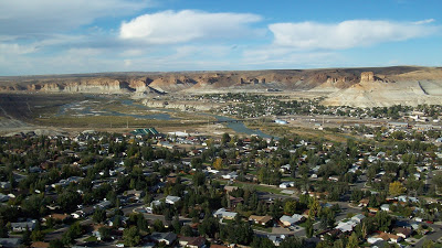View of town looking NW. Castle Rock is in the upper right and the palisades are in the upper left.