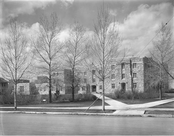 Knight Hall (1941): Original Negative: Knight Hall, University of Wyoming, 1941, University of Wyoming, American Heritage Center, Ludwig Svenson Collection, negative number 34153.1