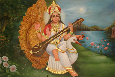 Saraswati, Goddess of knowledge, wisdom and arts.