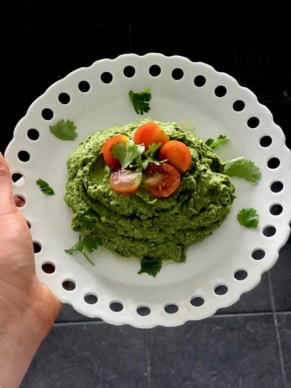 Pictured: Bengali 5 spice, cilantro & spinach hummus
