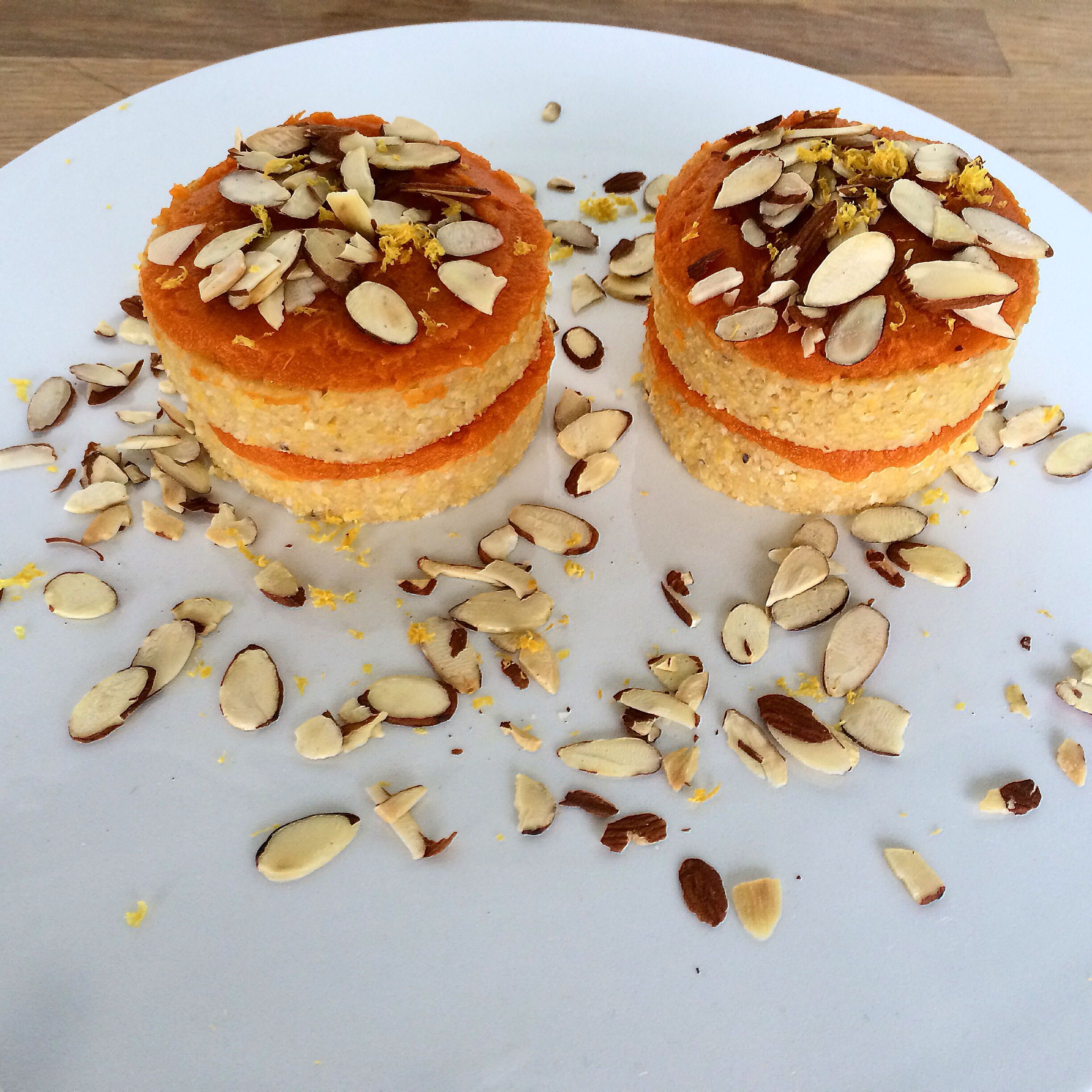"""I have even made polenta as a dessert! This was a test recipe from culinary school. Lemon-almond polenta cakes with a sweet potato """"frosting"""". A delicious recipe inspired by macrobiotic philosophy."""