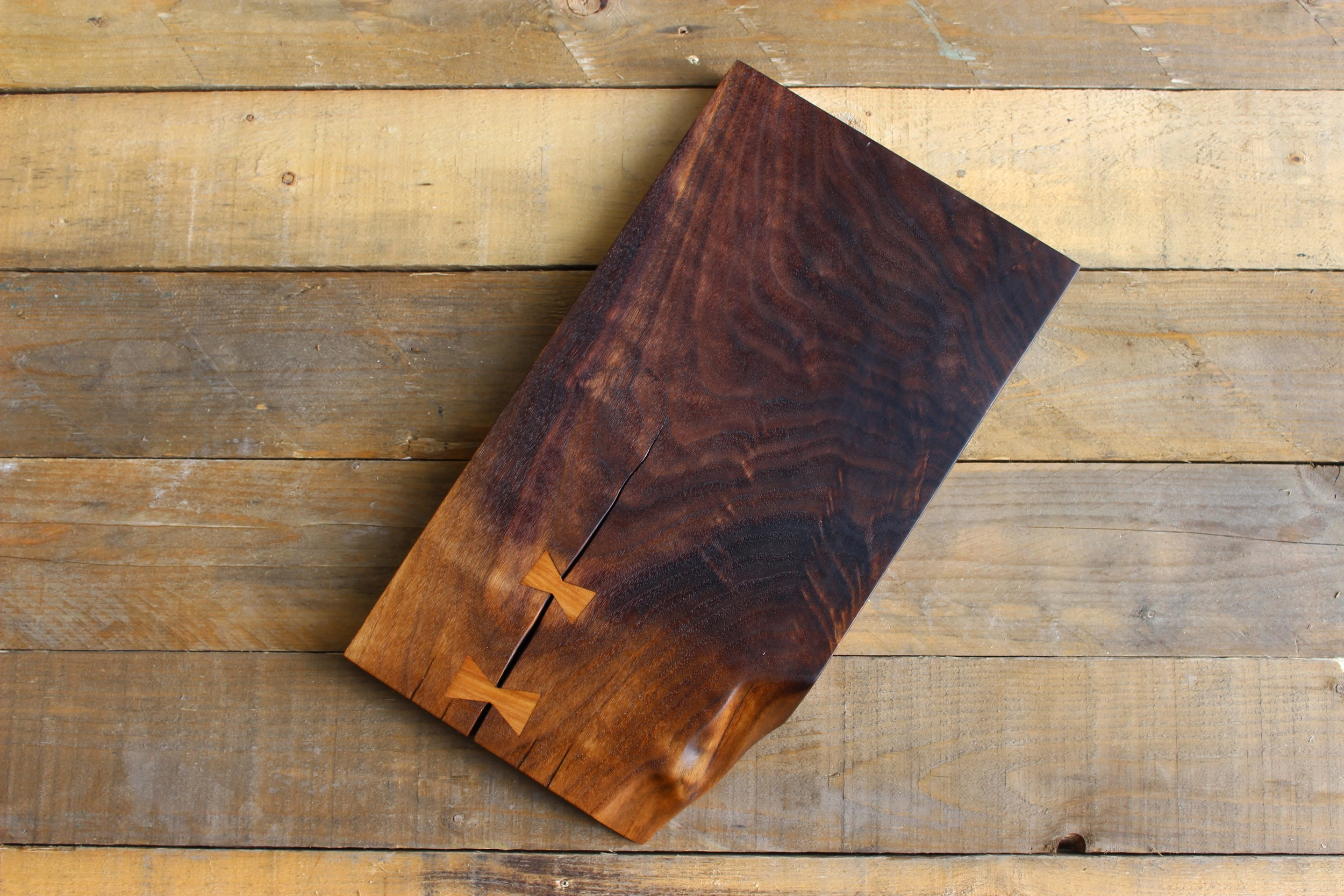 Crotch Walnut serving board with Cherry Bowtie