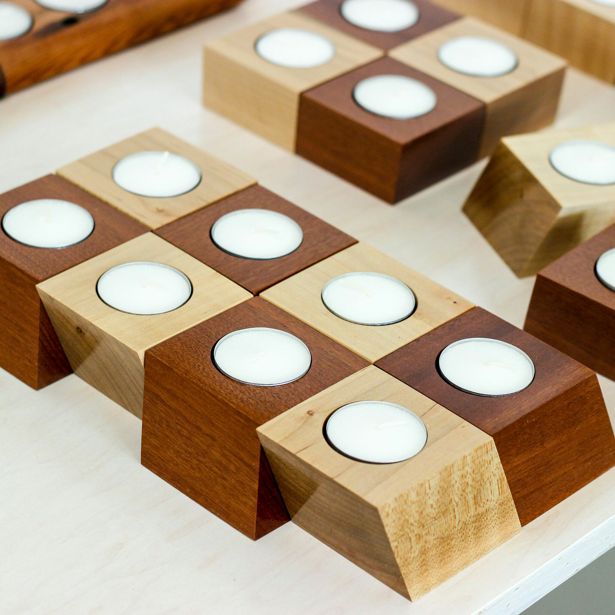 Parallelogram tea light holders