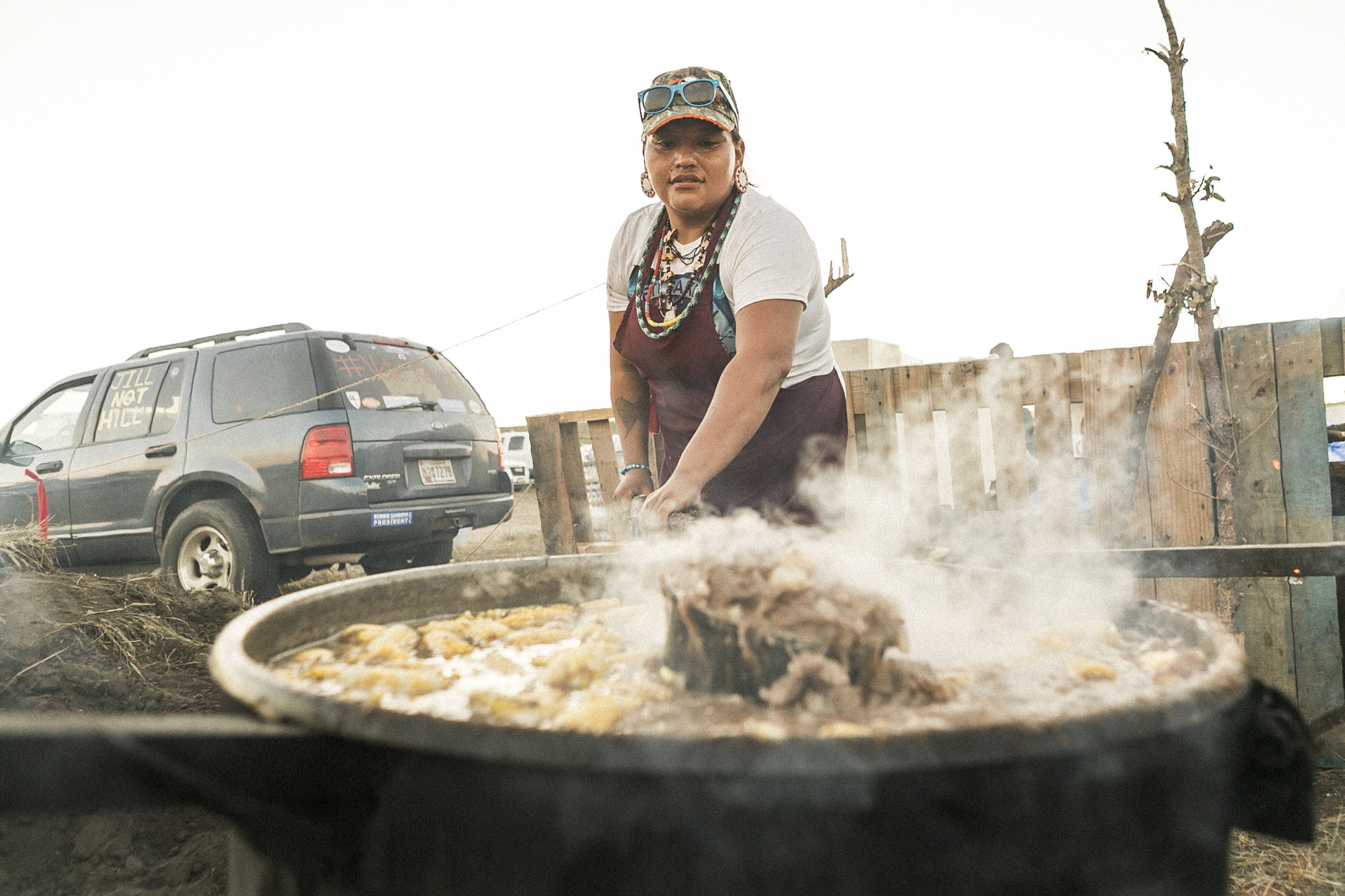 Nantinki Young , 27, Santee, South Dakota: 'I support the camp by providing energy and strength through the meals we prepare each day. I make sure everyone that comes here has something to eat even if it's just a snack in between meals.'