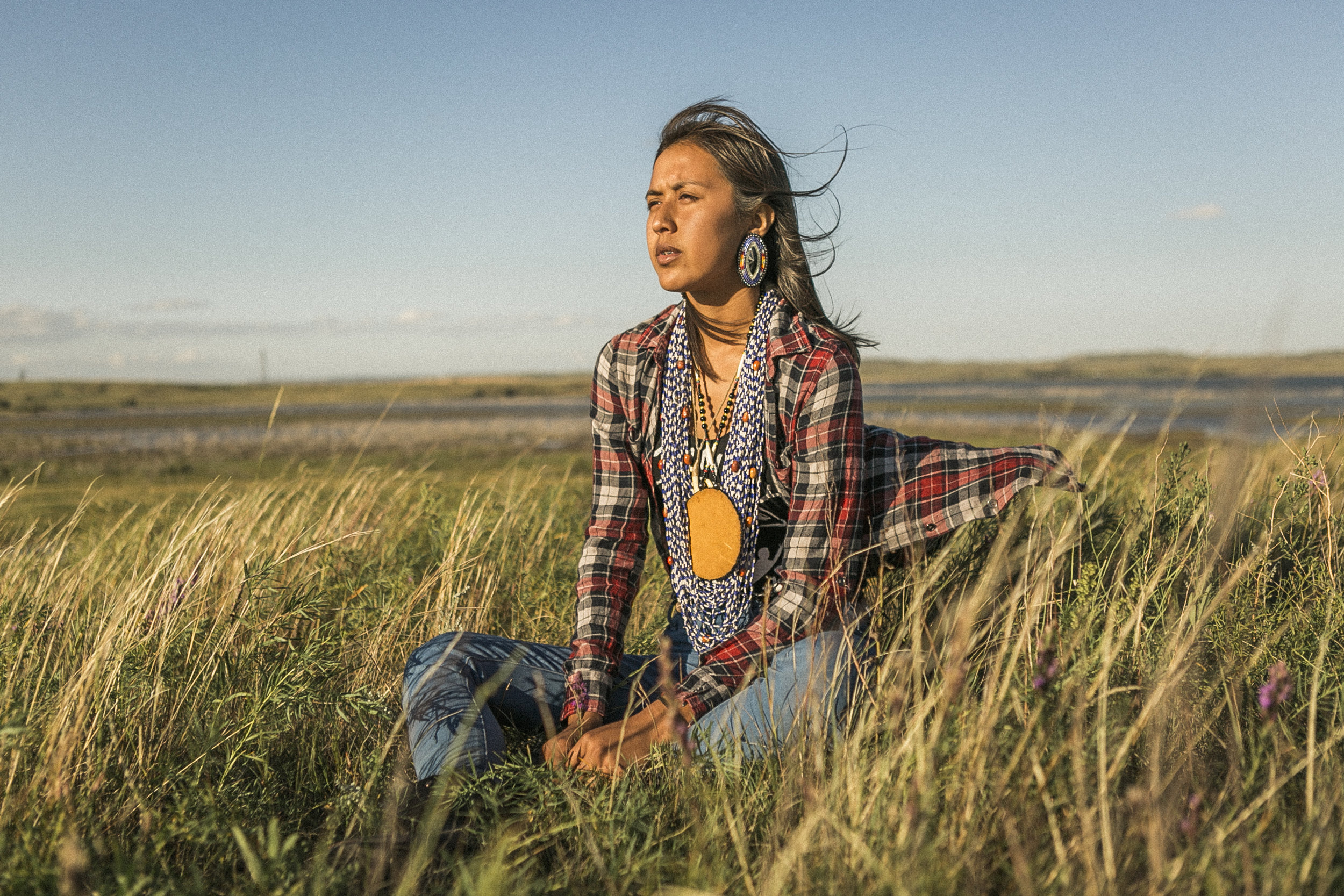 Naelyn Pike , 17, San Carlos Apache reservation: 'Our ancestors are looking at the people with tears in their eyes because they know all the pain and suffering yet to come. They know there is no tomorrow for those yet to be born.'