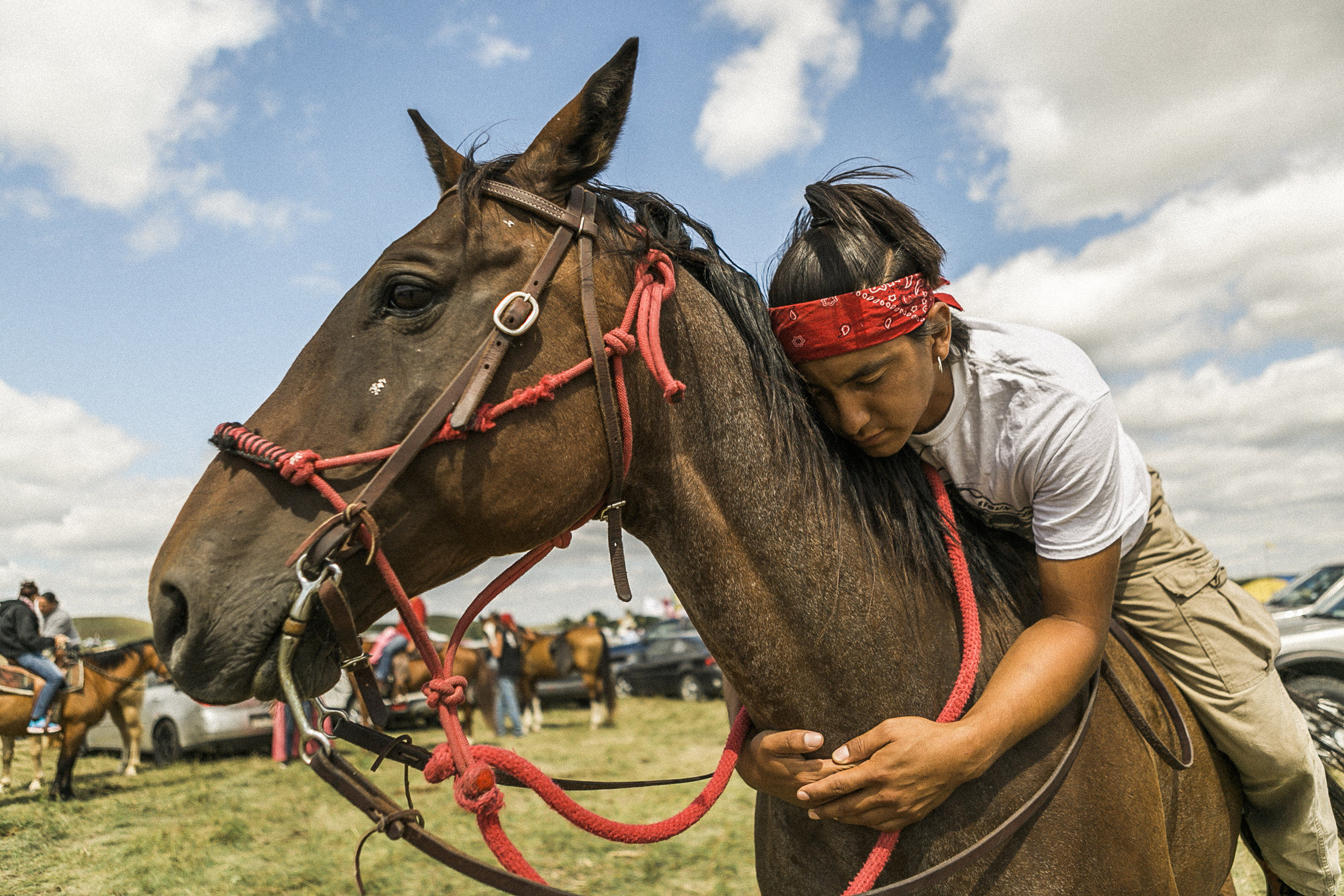 Vincent Night Horse Fox , 25, White Shield, North Dakota: 'I come to support Standing Rock to fight against the pipeline. I want clean water for my family and all living things that walk on mother Earth.'