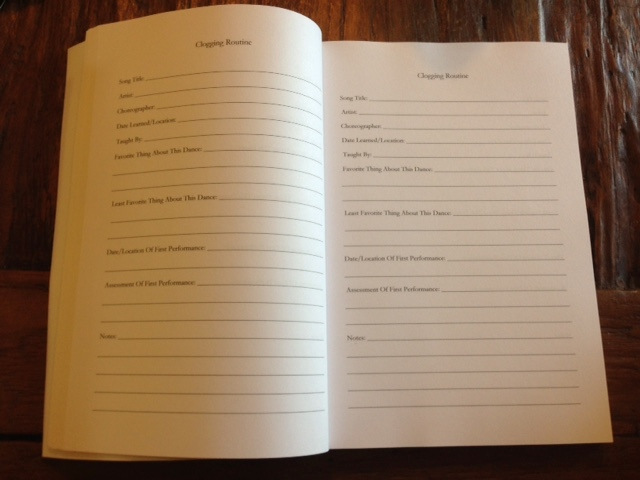 A look inside Clogger's Journal at the Clogging Routine pages.
