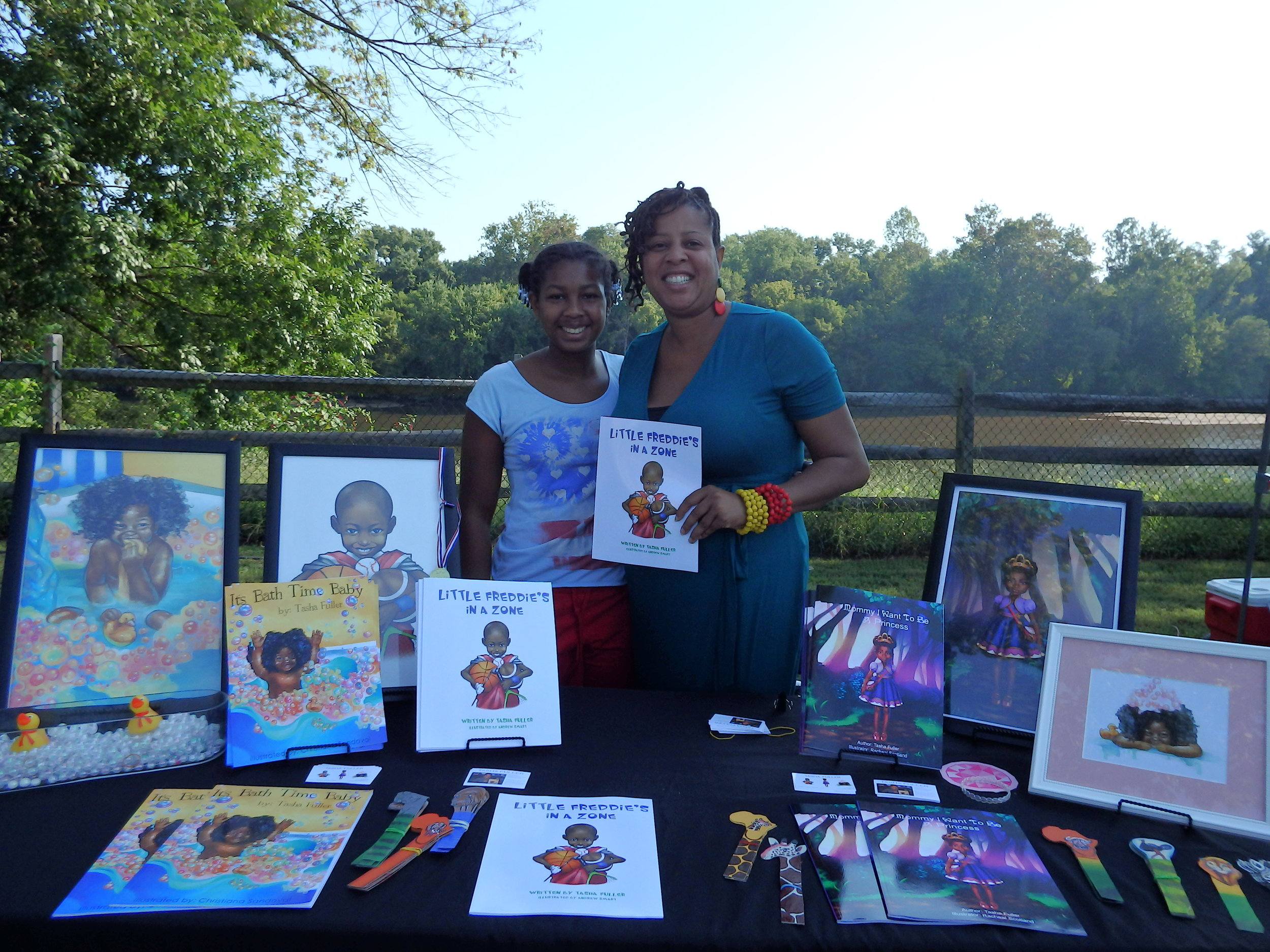 Tasha Fuller promotes and sells her independently published books at the 1st Annual Fredericksburg Independent Book Festival in 2016.
