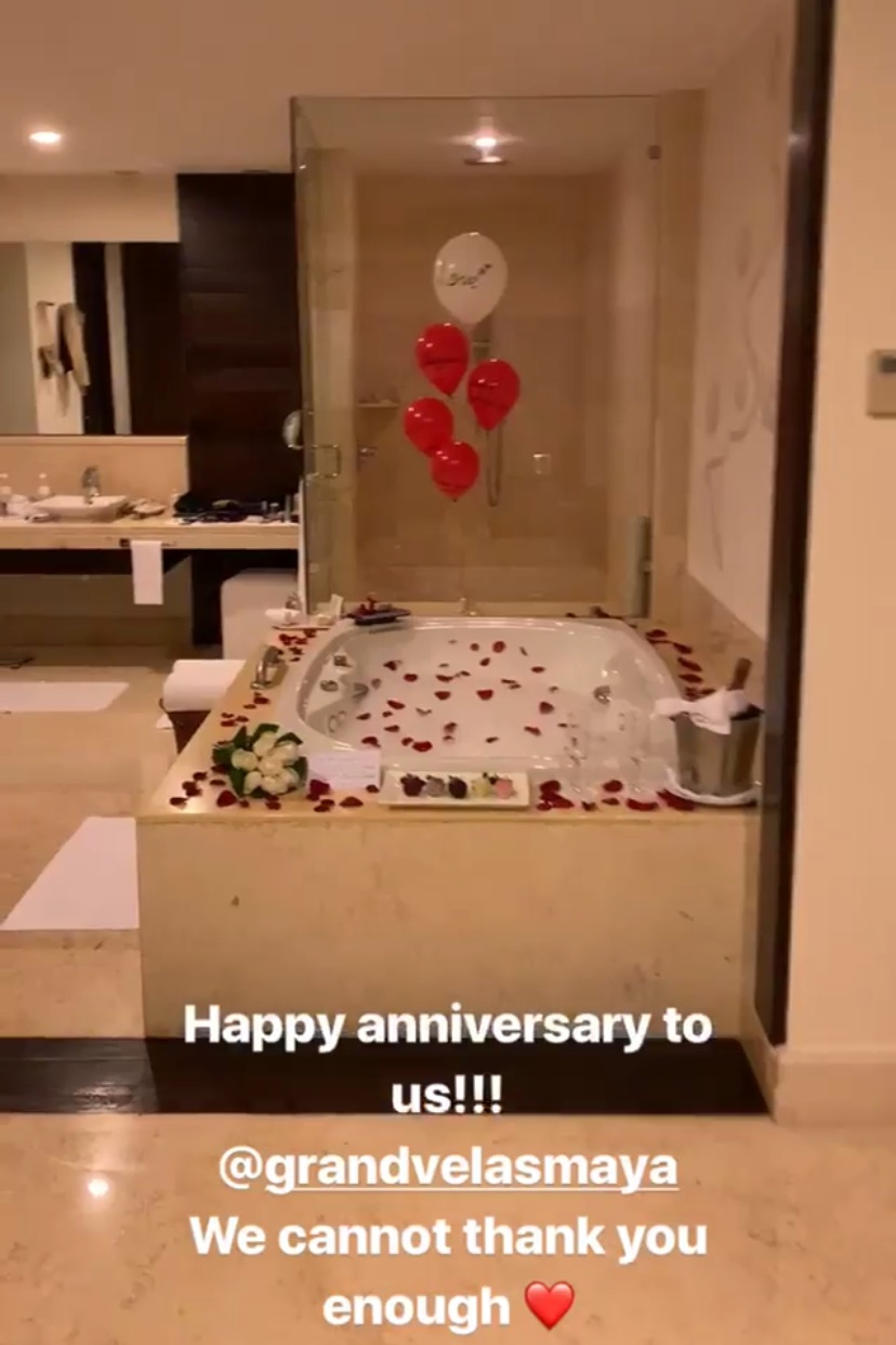 Coming back from dinner to this sweet surprise meant so much to us. Our incredible personal concierge Jennifer actually stayed late after work to make this all come to life. Everyone at Grand Velas really went above and beyond to make us feel special and loved.