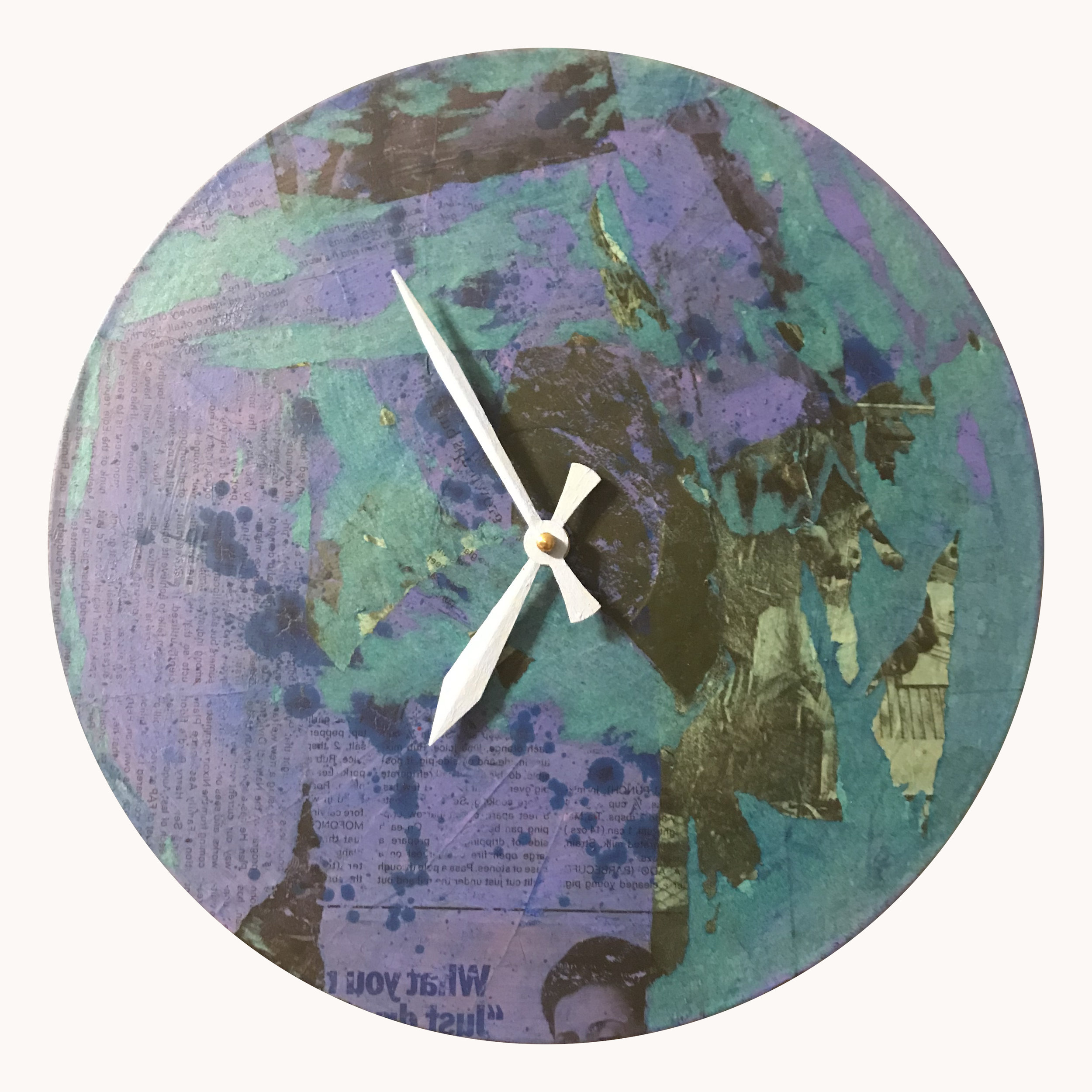 """12"""" round clock made from vinyl record.  Collage and acrylic.   This clock is SOLD."""