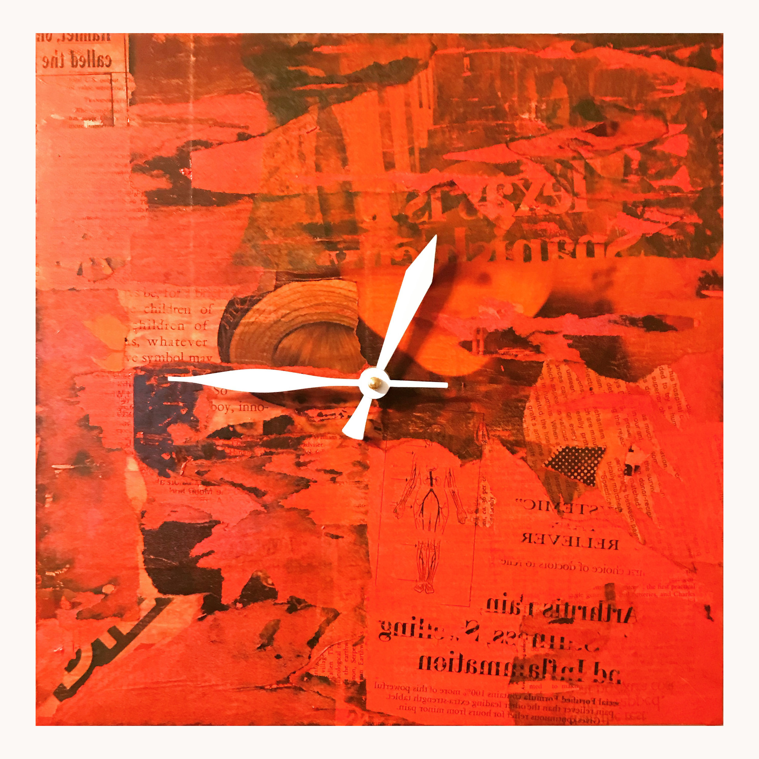 """12"""" square clock on birch panel.   Collage and acrylic.  This clock is SOLD."""