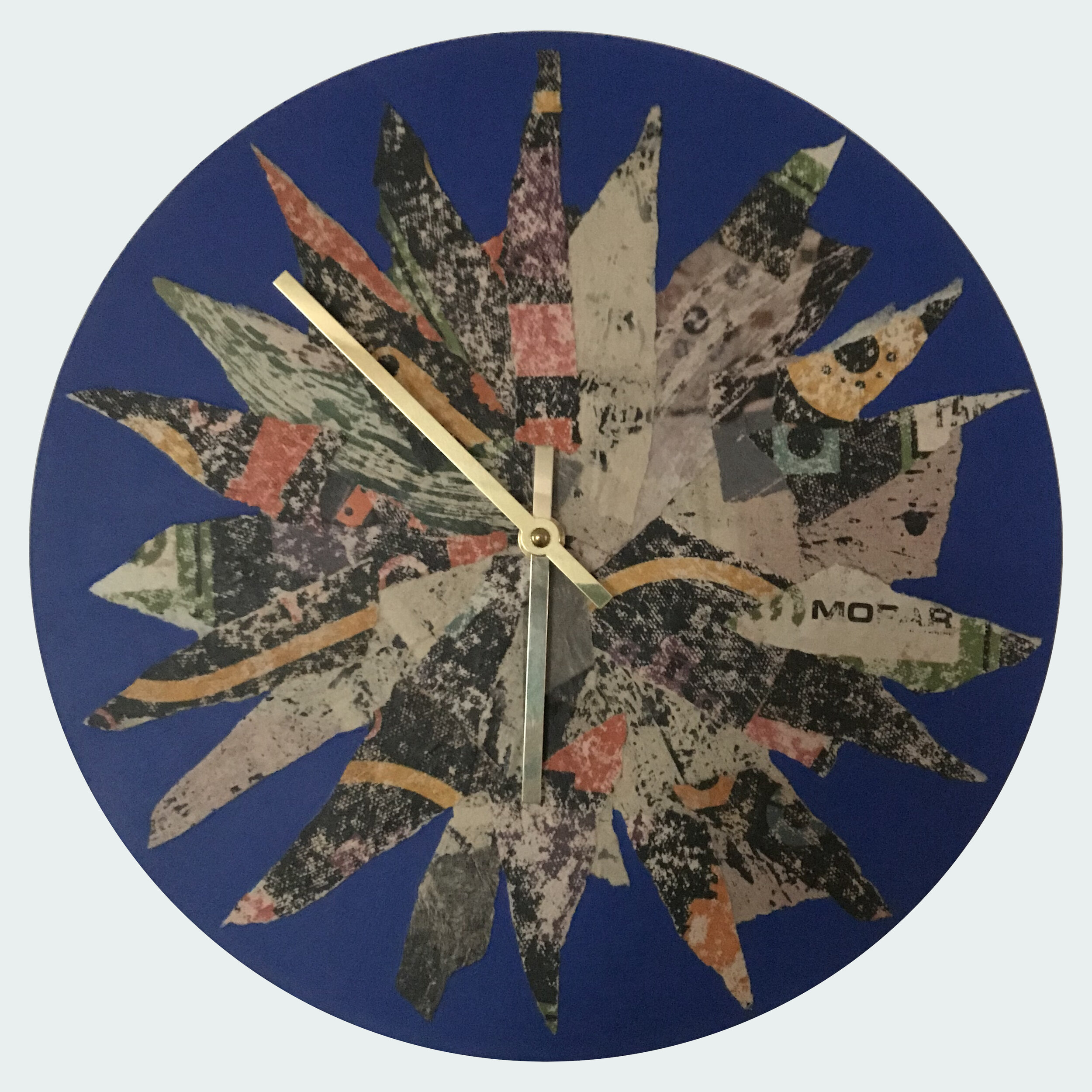 """12"""" round clock made from vinyl record.   Collage and acrylic.   This clock is AVAILABLE.   $50 + $14.35 shipping (if applicable)."""