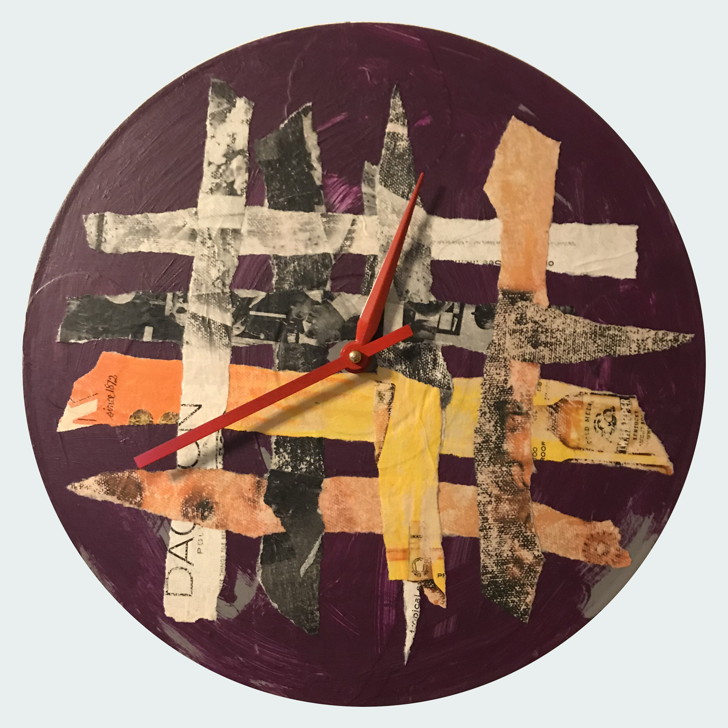 """12"""" round clock made from vinyl record.  Collage and acrylic.  This clock is AVAILABLE.  $50 + $14.35 shipping in U.S. (if applicable)."""