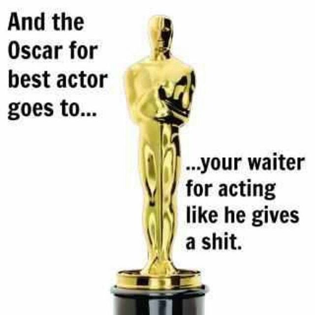 Happy #OscarSunday! I'd like to thank the academy... #oscars #waitcrimes #serverlife #serverprobs #serversbelike #serverlifeproblems #server #servers #serverproblems #justiceserved #yourserverhatesyou #boh #foh #restaurantlife #t #workflow #lmfao #lmao #hostess #waitress #restauranthumor #lifeasaserver #lineup #runner #preshift #hollywood @jimmykimmel