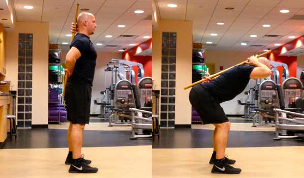 Hip hinge: keep your weight over your heels and evenly between both feet