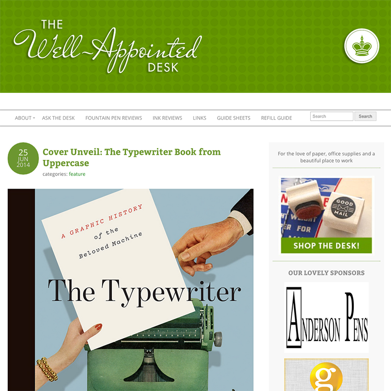"June 25, 2014  ""If you're familiar with Uppercase magazine, you know this book will be beautifully designed by editor-in-chief Janine Vangool and printed with the highest quality standards."" –Ana Reinert,  The Well-Appointed Desk"