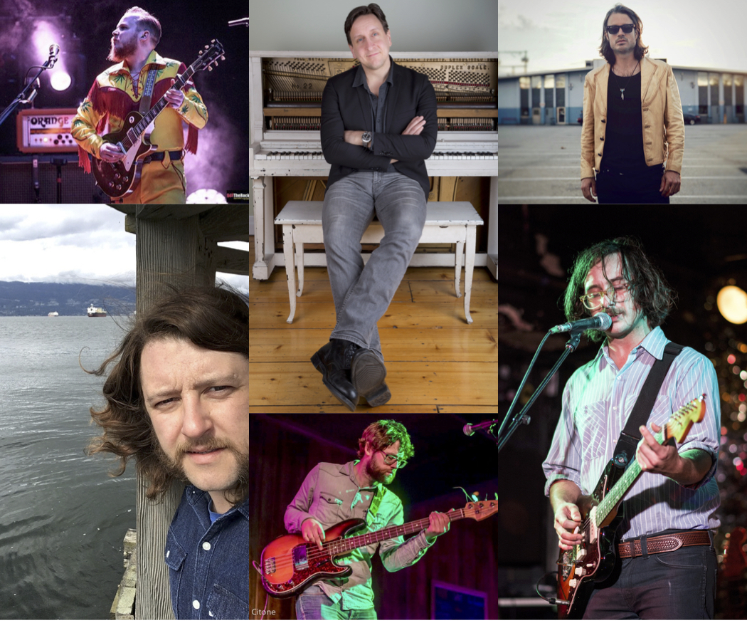 Clockwise from top centre: Michael Boguski, Dustin Bentall, Chris Sleightholm, Chris Mason, Lucas Goetz and Jim Bowskill