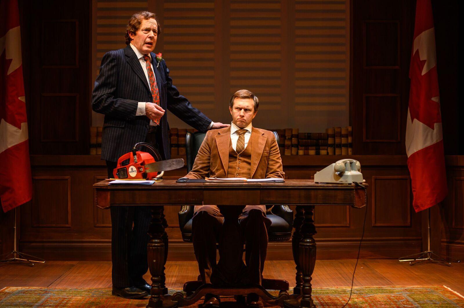 L - R Christopher Hunt as Pierre Trudeau and Philip Riccio as Joe Clark. Photo by Dahlia Katz.