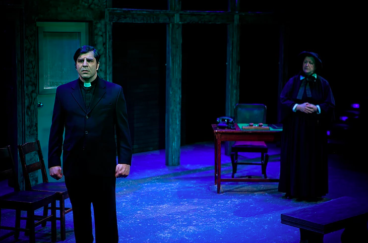 L: Will Van Der Zyl as Father Flynn and R: Katherine Turner as Sister Aloysius. Photo by Rich Burdett