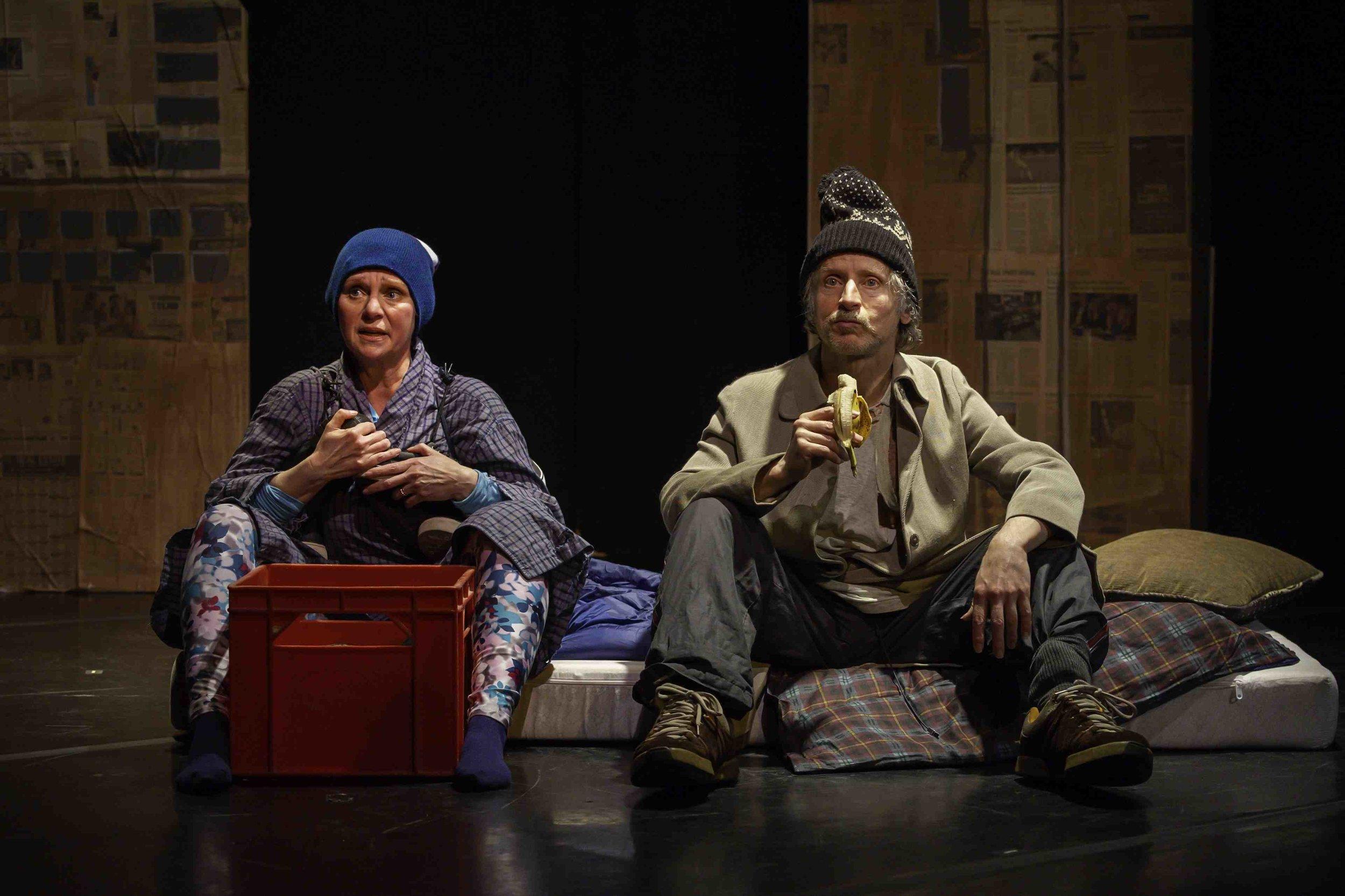 L to R: Deborah Drakeford as Gwen and Scott McCulloch as Kurt Vonnegut. Photo by John Gundy.