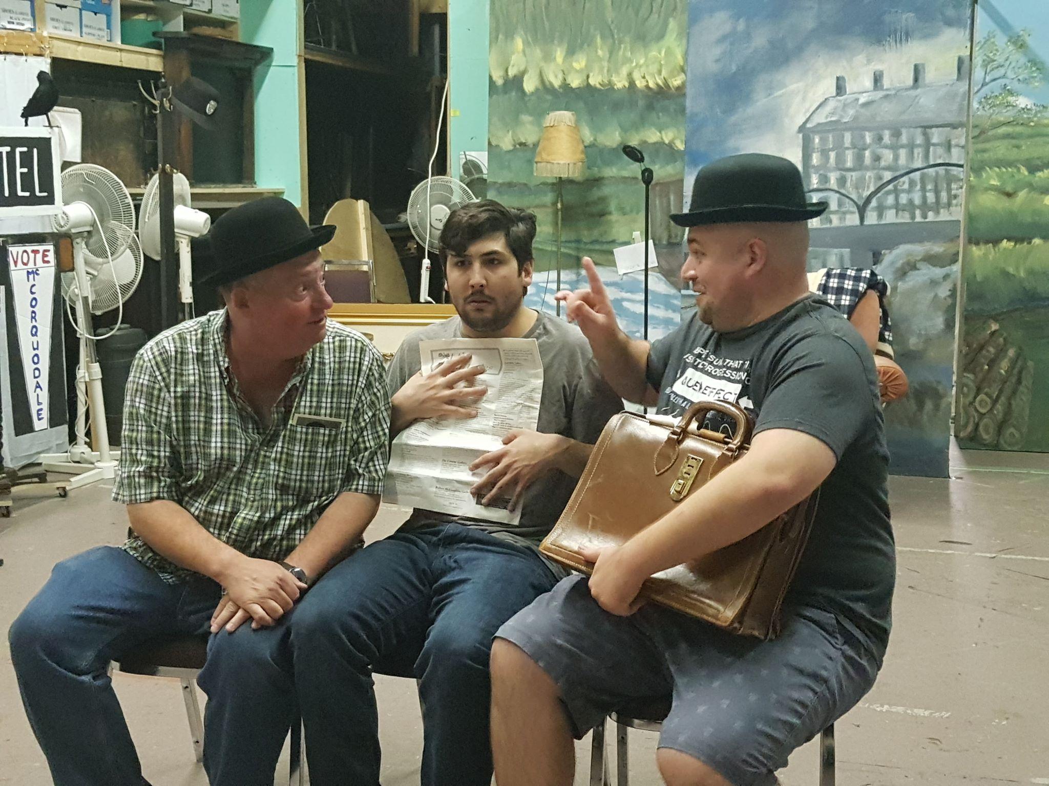 L – R: Tommy Boston as Clown, Rob Magee as Richard Hannay, Paul Bryant as Clown. Photo by Darlene Thomas.