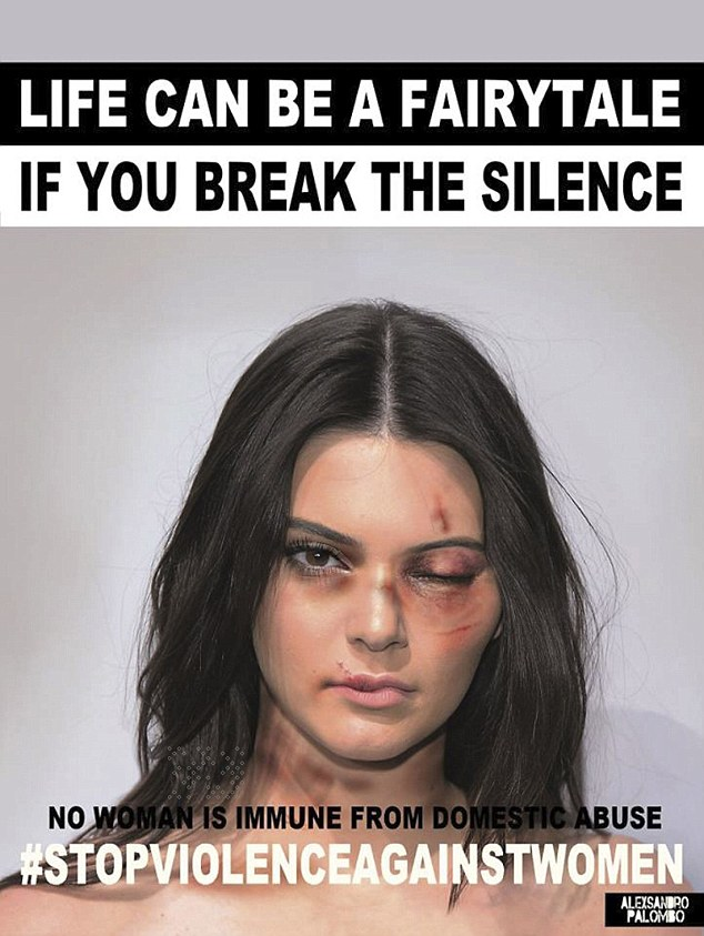 In light of the International Day for Elimination of Violence, Palombo depicts some of the top celebrities of our time, such as model Kendall Jenner, as victims of violence
