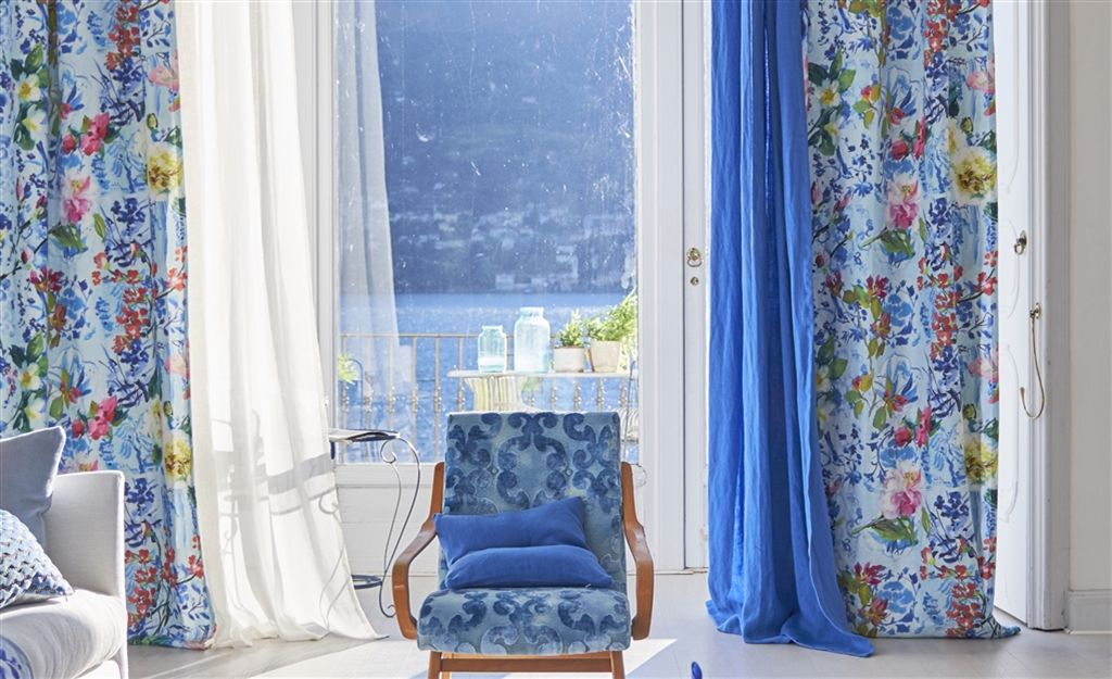FEATURED - Curtains in Majolica Cornflower by Designers Guild with Saraille hand dyed linen in Cobalt layered under as sheers.