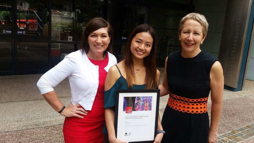 """Congratulations to our Young Science Ambassador, Amy Chan - Winner of People's Choice Award - 2018 Queensland Women in STEM Prizes""""I'd like to thank Wonder of Science for giving me the confidence to apply for the Queensland Women in STEM award. WoS gave me a lot of science communication practice and now I feel comfortable talking to other people about my PhD (I used to avoid doing this at all costs!)""""Read all about Amy's win and the other excellent YSA entries on our blog![photo credit: @qldscience (twitter)]"""