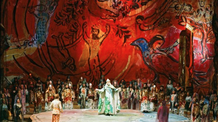"Marc Chagall's costumes and designs featured in ""The Magic Flute,"" February 1967, Metropolitan Opera, New York. (Frank Dunand / Metropolitan Opera Archives)"