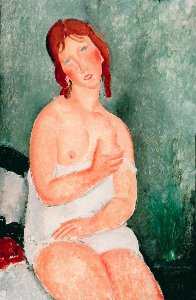 Young woman in a shirt  by Amedeo Modigliani, 1918