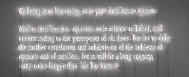 Intellect to Opinion , 2017, Joseph Kosuth; warm white neon. Courtest of the artist. @2018 Joseph Kosuth