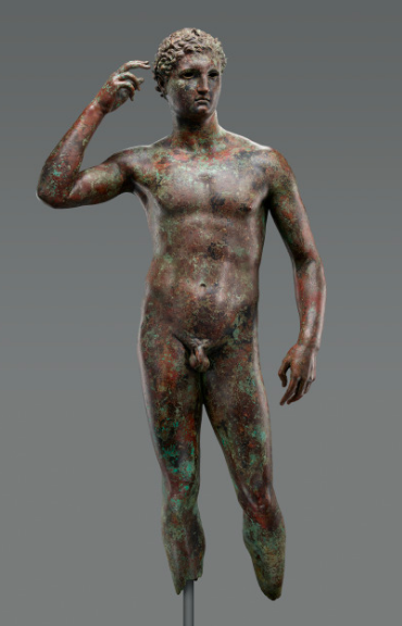 Unknown   Statue of a Victorious Youth , 300–100 B.C., Bronze with inlaid copper 151.5 × 70 × 27.9 cm, 64.4108 kg (59 5/8 × 27 9/16 × 11 in., 142 lb.) The J. Paul Getty Museum, Los Angeles. Digital image courtesy of the Getty's Open Content Program.