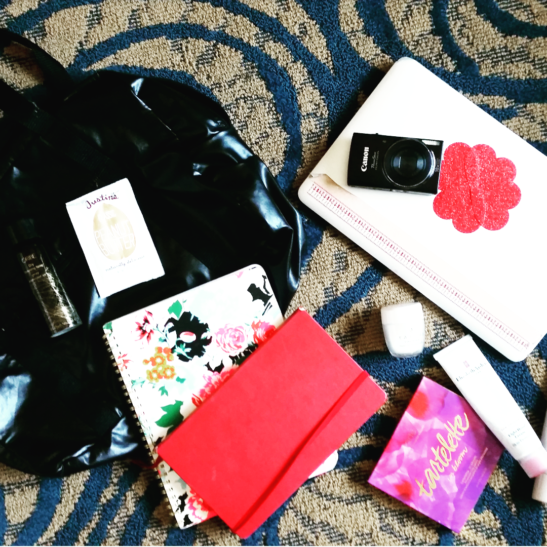 My essentials! Planner, notebook, Elizabeth Arden 8-hour cream for an intense mask, light make-up, American Apparel gym bag, computer, and Tatcha rice enzyme powder face wash!