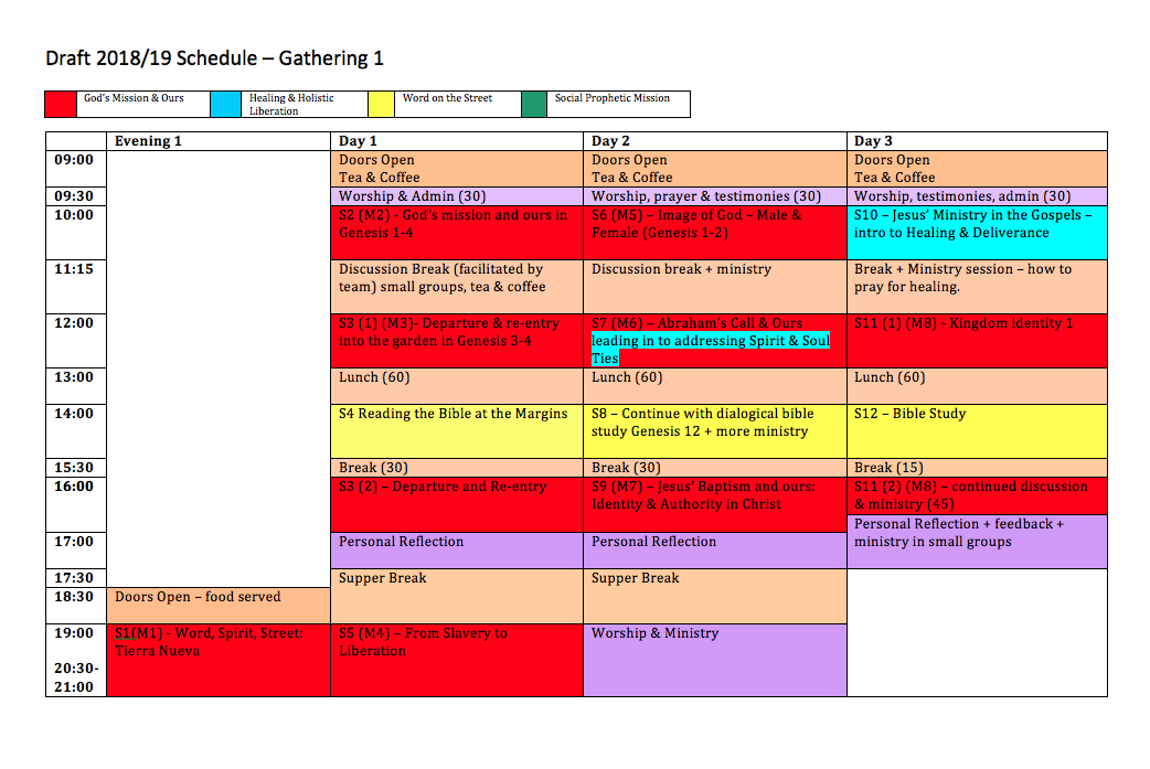 Draft schedule - gathering one
