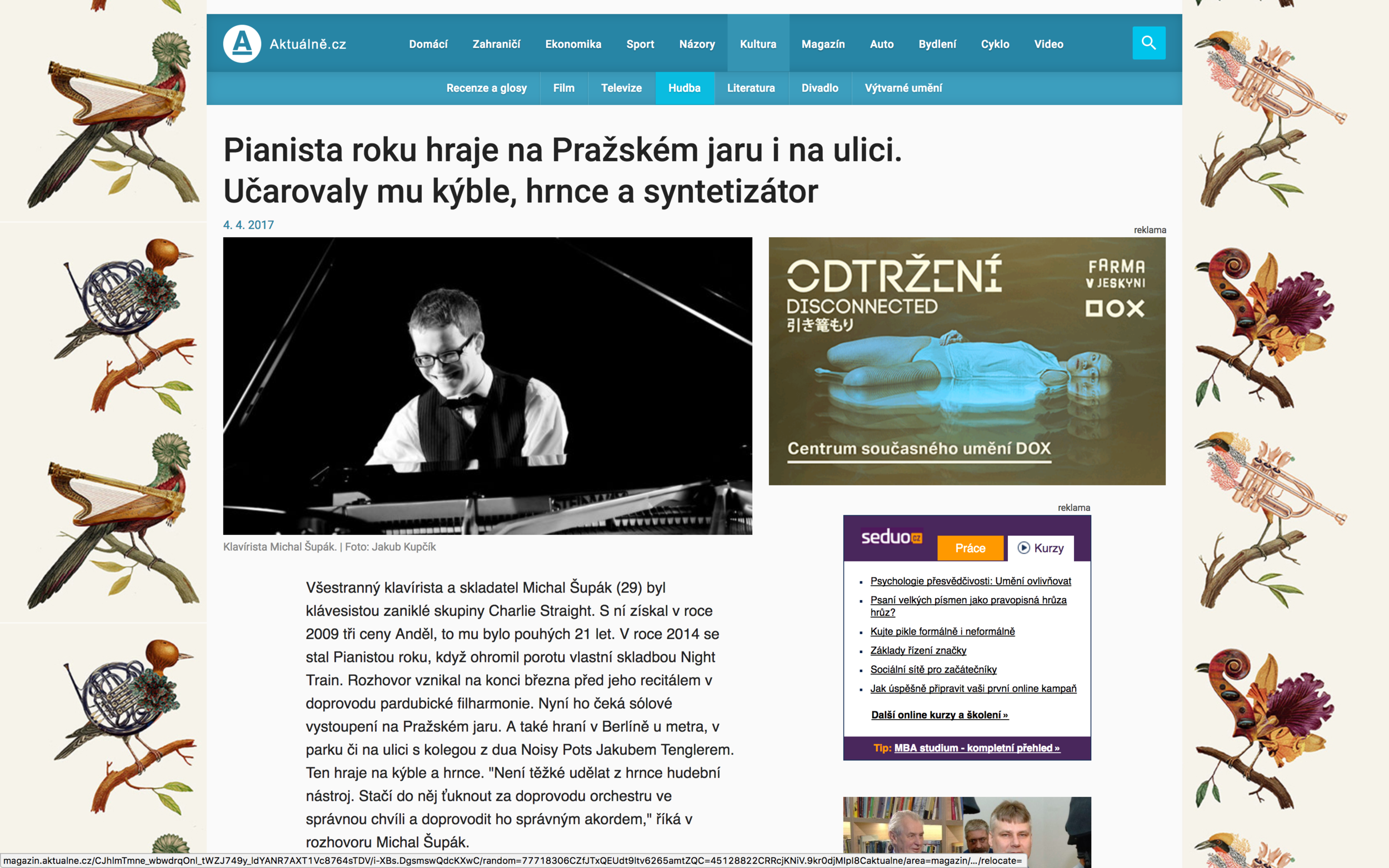 aktualne.cz   Interview about concert with Czech Chamber Philharmonic Orchestra Pardubice, Noisy Pots, Charlie Straight, future plans and more