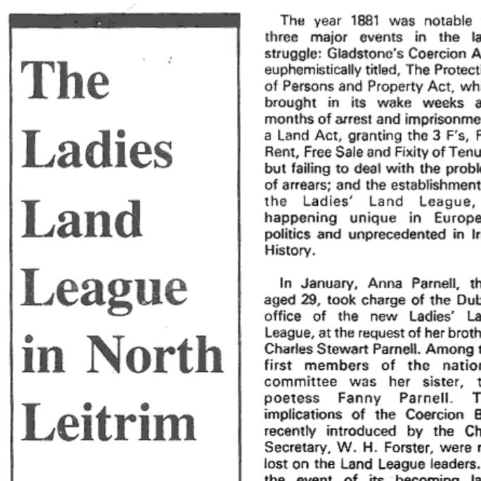 The Ladies Land League in North Leitrim
