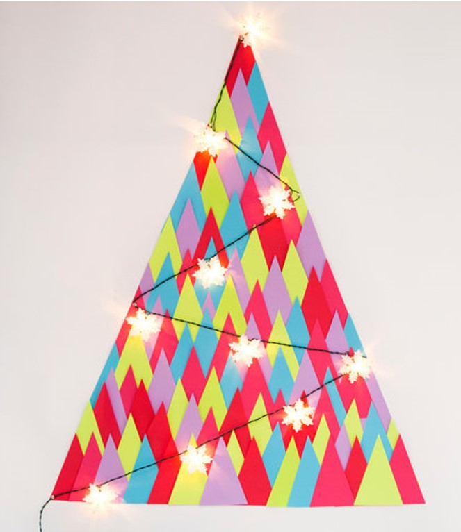 And this is how its done...   https://www.brit.co/paper-triangle-wall-tree/
