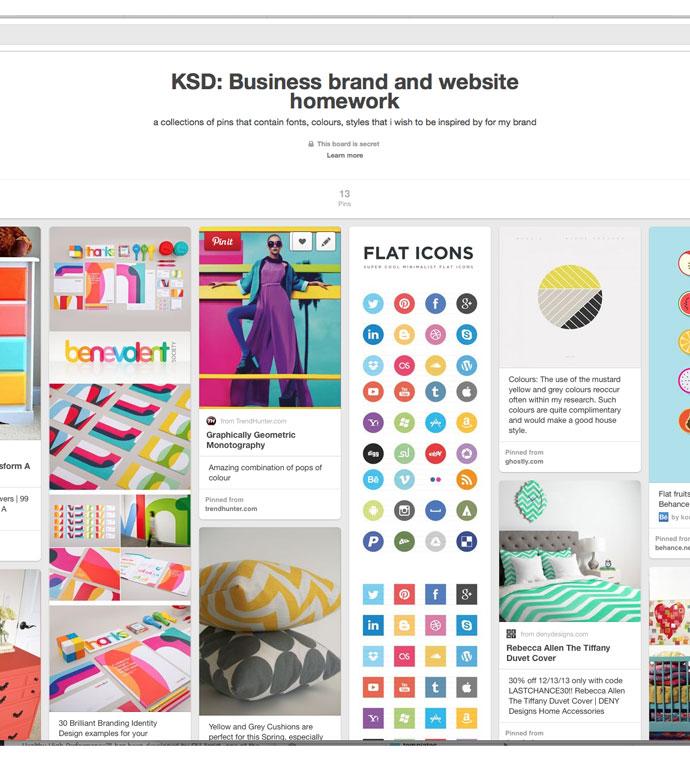 using Pinterest for client homework, KSD board on Pinterest