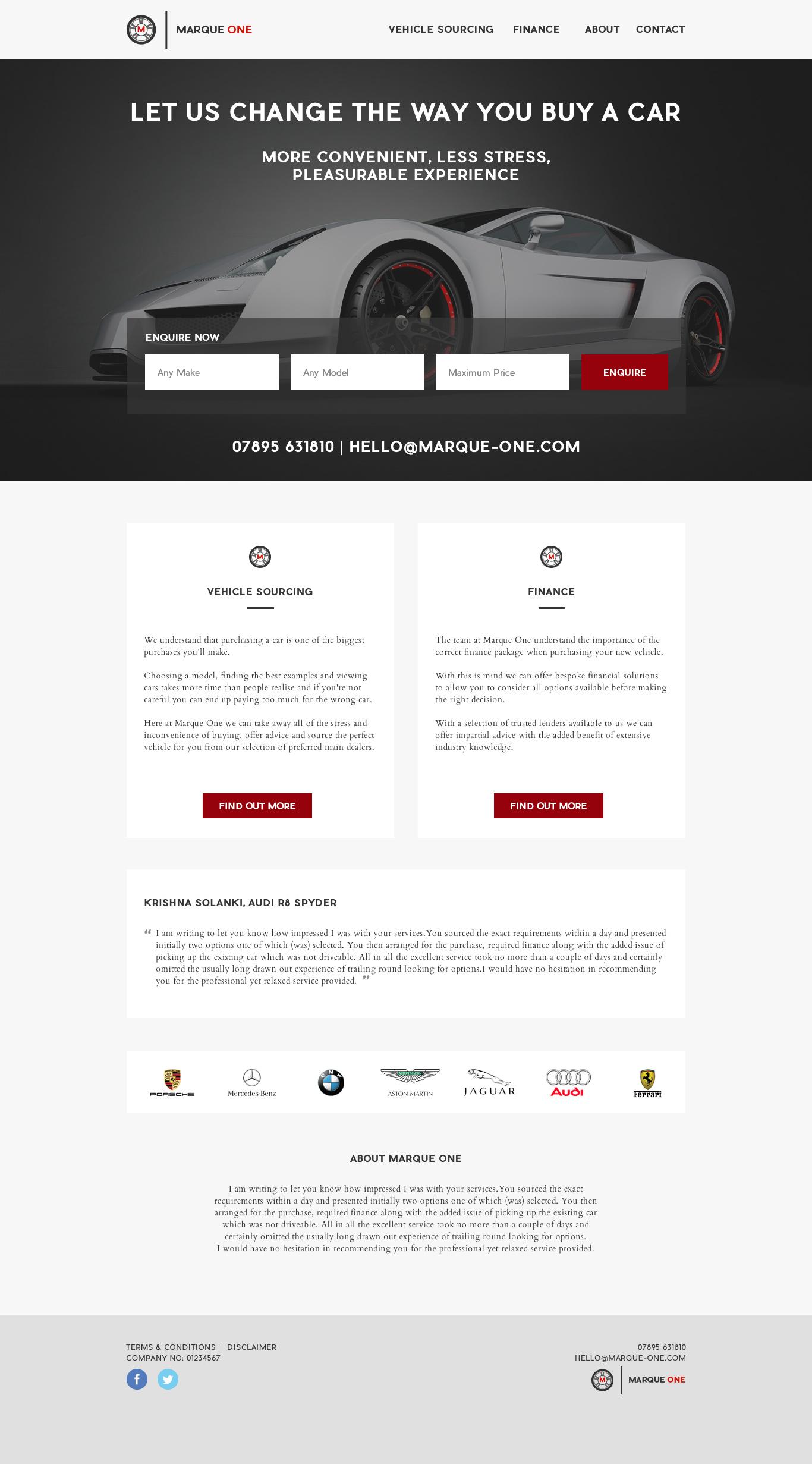 Marque One - Website design