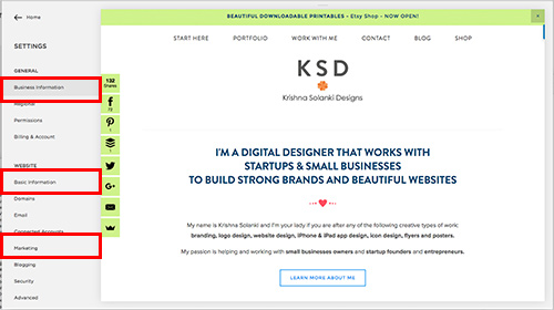 Krishna Solanki Designs - An Introduction To Squarespace SEO - Squarespace settings