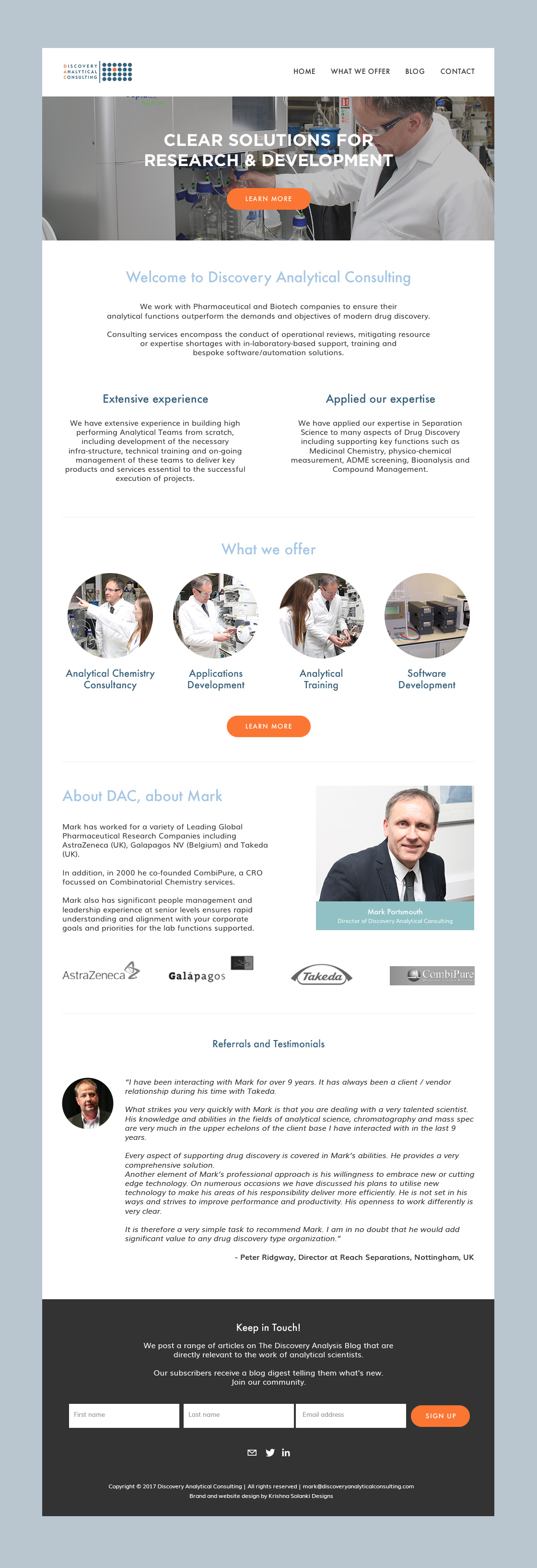 Krishna Solanki Designs  - Discovery Analytical Consulting Ltd - Squarespace Website Design - Homepage