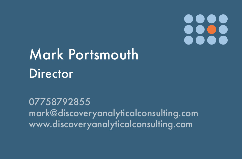 Krishna Solanki Designs -  Discovery Analytical Consulting Ltd - Business card - Back