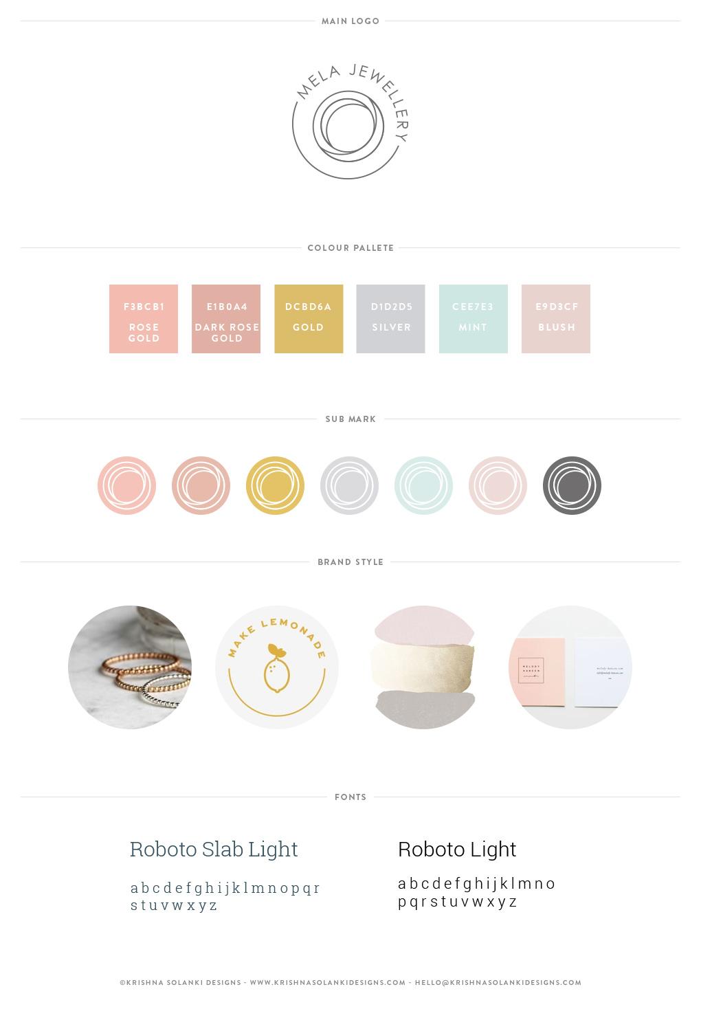 Mela Jewellery - Brand board