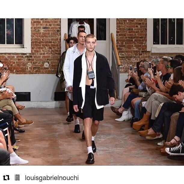 #Repost @louisgabrielnouchi (@get_repost) ・・・ Show LGN Louis Gabriel Nouchi Spring.Summer 19  Photo @etiennetordoir  DA @adrienpoznanski  Style @nassimderbikh  Makeup @vanessa_bellini_  Hair @masatotsuchiya  Shoes @jmwestonofficial  Production @lisadelmas  Space @espacedaylight  Press @stephanieautrement @mayconcepts  Sales @boonparis  #lgn #louisgabrielnouchi #men #menstyle #pfw #parisfashionweek #paris #show #ss19 #love #finale #press