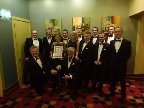The team from Inishowen Engineering enjoying their award with Peter Casey and Noel Cunningham