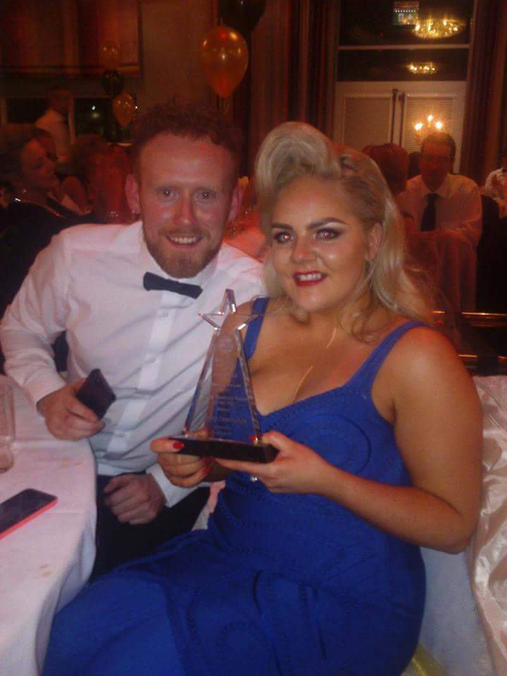 Aisling Cunningham from Powder 'n' Pout, Carndonagh relaxing after receiving her award