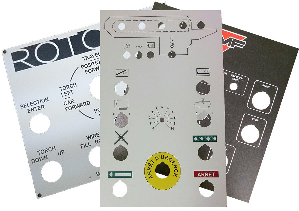 Plaques gravées au laser pour fabrication de panneaux de contrôle